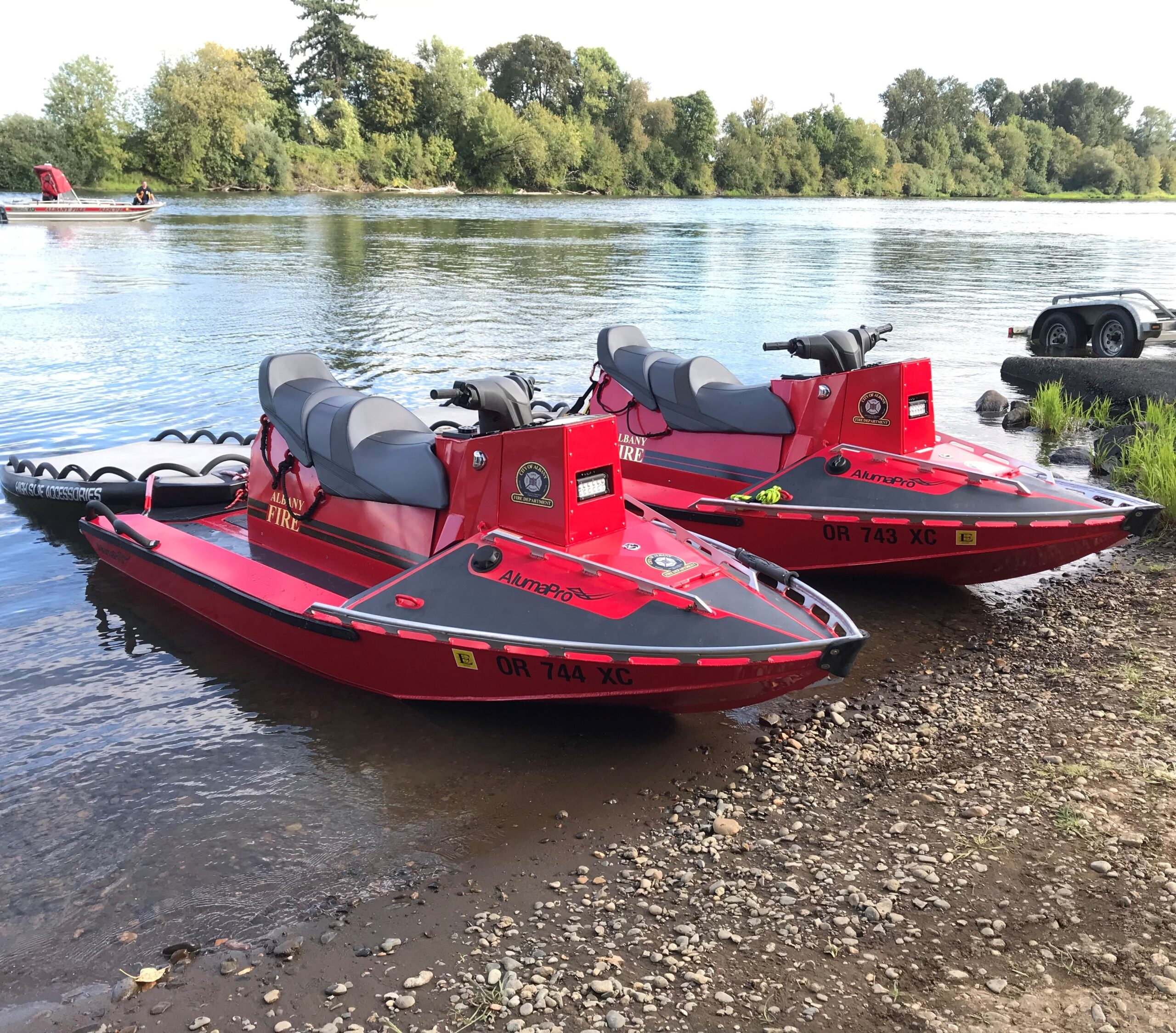 Pair of AlumaPro Boats Albany Fire Department Water Rescue Team Runs